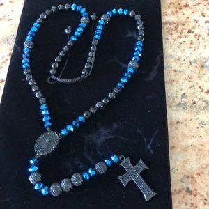Black blue CZ rosary cross Jesus long necklace